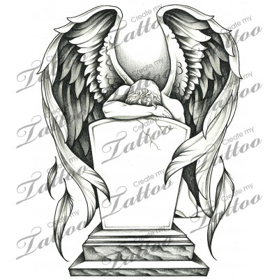 svg freeuse stock Drawing sad fallen angel. Marketplace tattoo grieving and