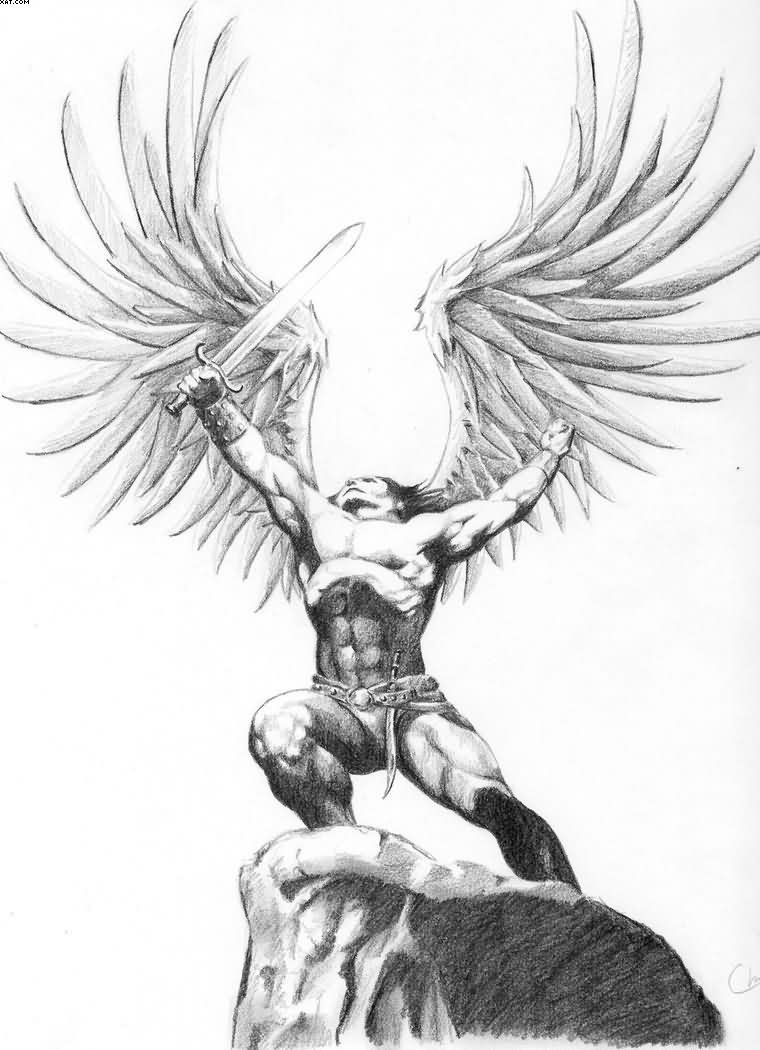clipart stock Archangel drawing standing. Pin by behnam on