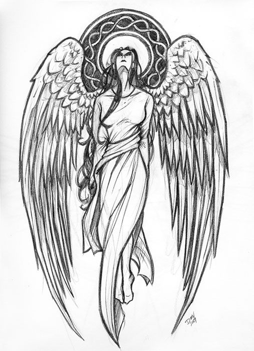 picture library stock Angel tattoos designs ideas. Archangel drawing standing