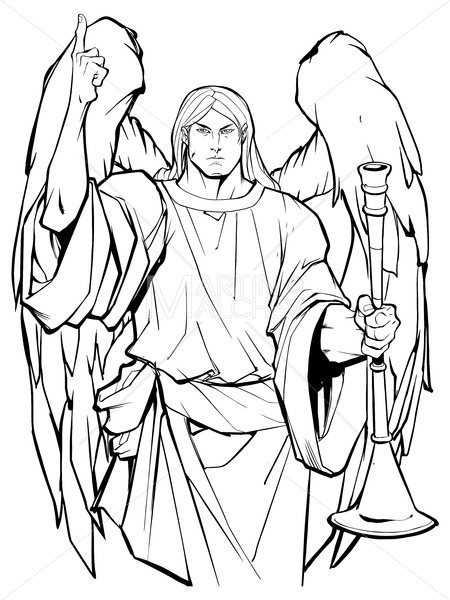 clip art free library Archangel drawing standing. Gabriel line art