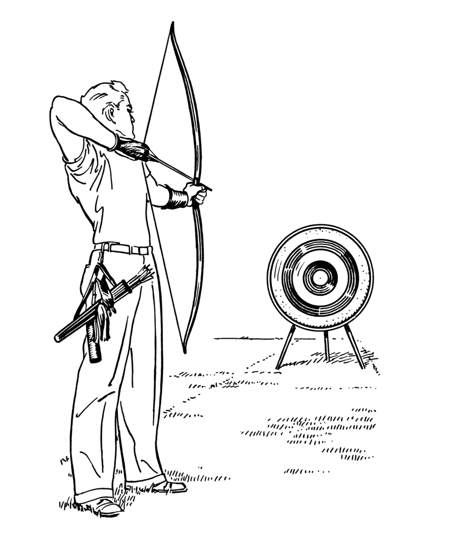vector black and white stock Archery drawing. Line art arrow clipart.