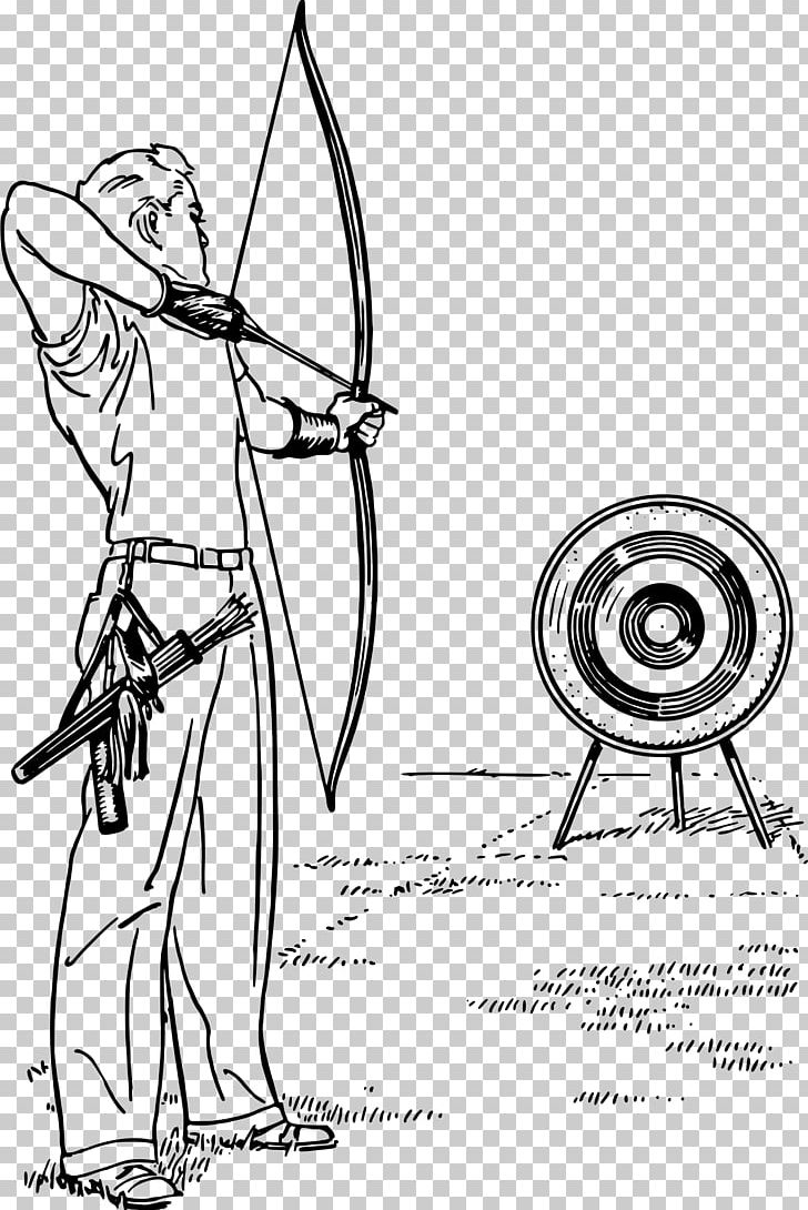 image download Archery drawing. Bow and arrow line.