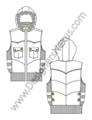 image Hooded vest with fur. Architect clipart technical drawing