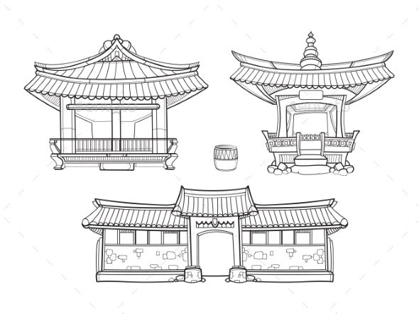 banner stock Architecture vector. Hanok korean traditional outline