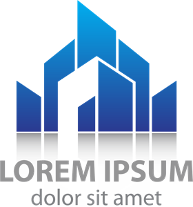 clip freeuse library Blue style building Logo Vector