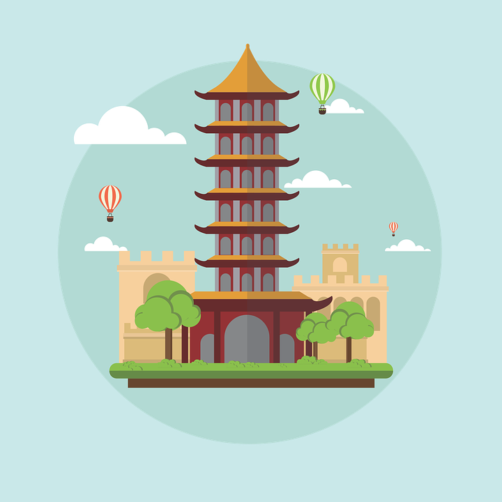 banner transparent download Cartoon China Landscape with building free vector