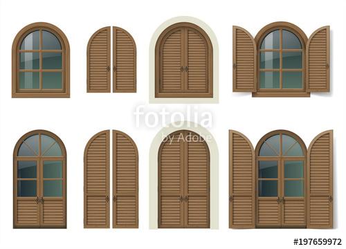 vector freeuse Vintage wooden window and. Vector door wood