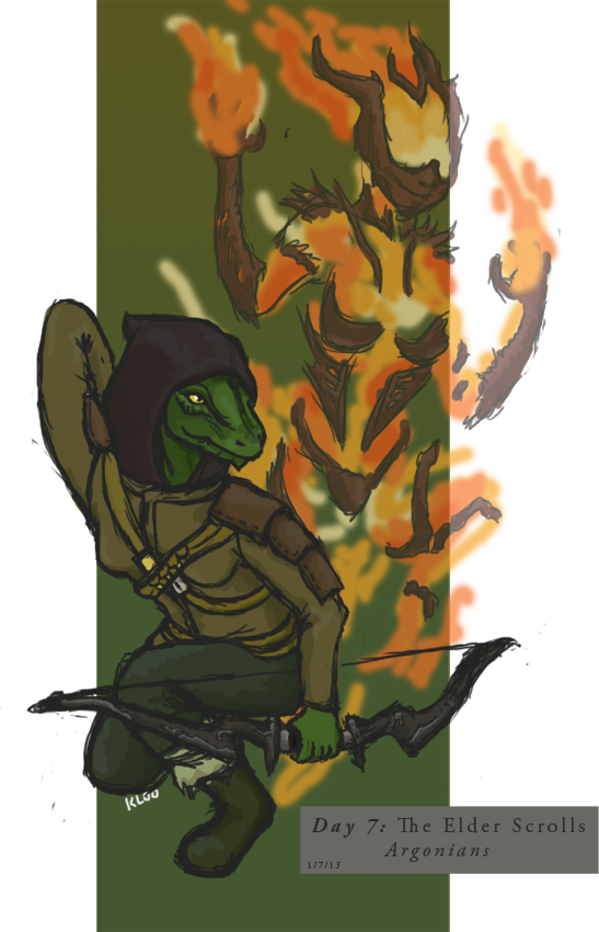 clip library stock Tes day and flame. Argonian drawing fan art