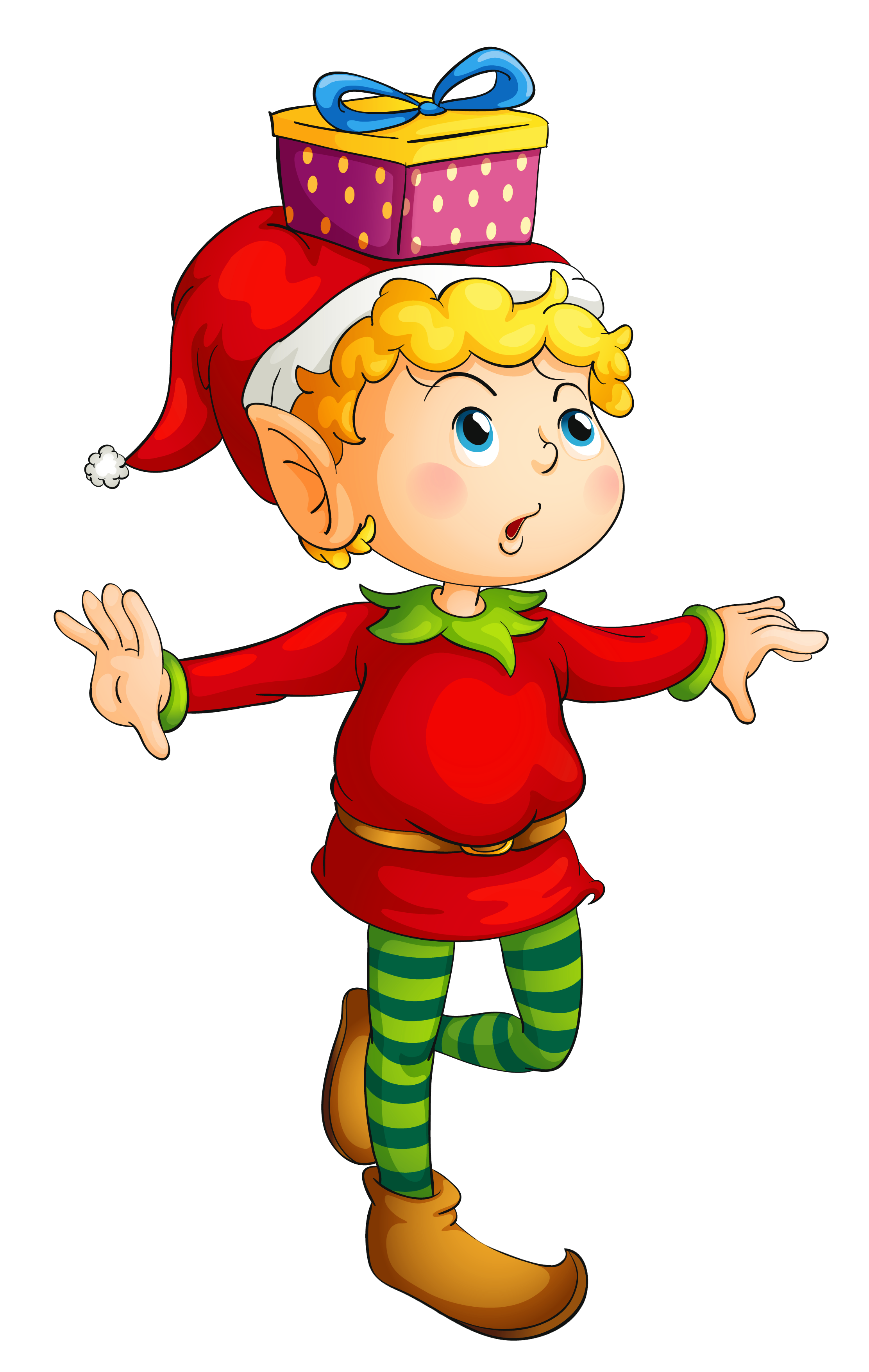 banner free Gnome clipart hobbit. Christmas elf with gift