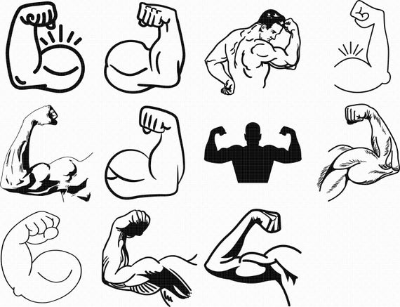 graphic Arm flexing clipart. Strong flex svg eps.