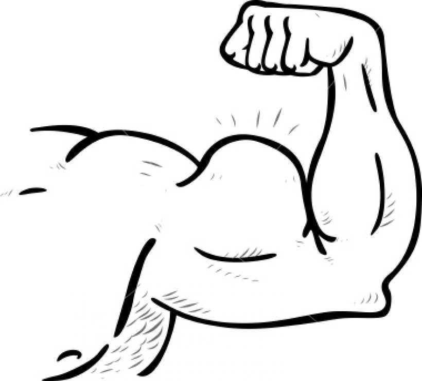 clipart black and white Of muscle black . Arm muscles clipart.