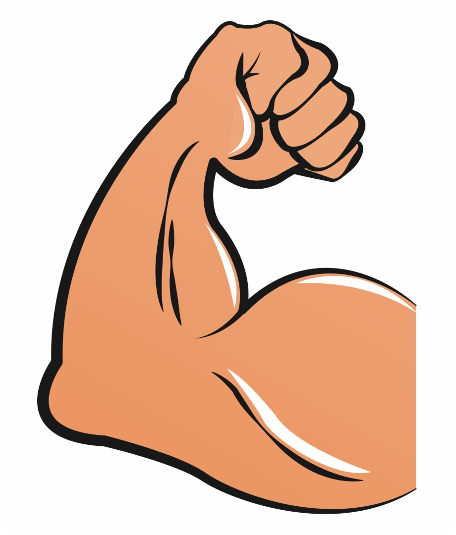 clip art black and white library Muscular arms cartoon biceps. Arm muscles clipart.