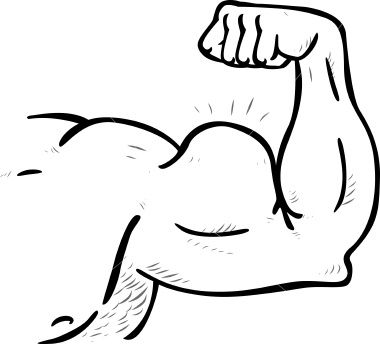 banner free Big muscle cartoon body. Arms clipart caricature.