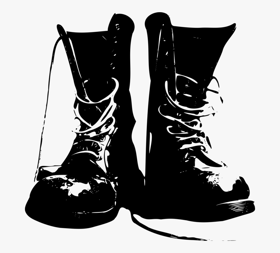 png royalty free library Boot shoe cowboy army. Combat boots clipart black and white
