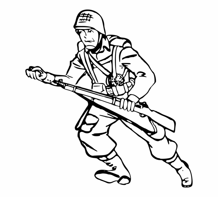 graphic library stock Army clipart black and white. Soldier drawing solider military