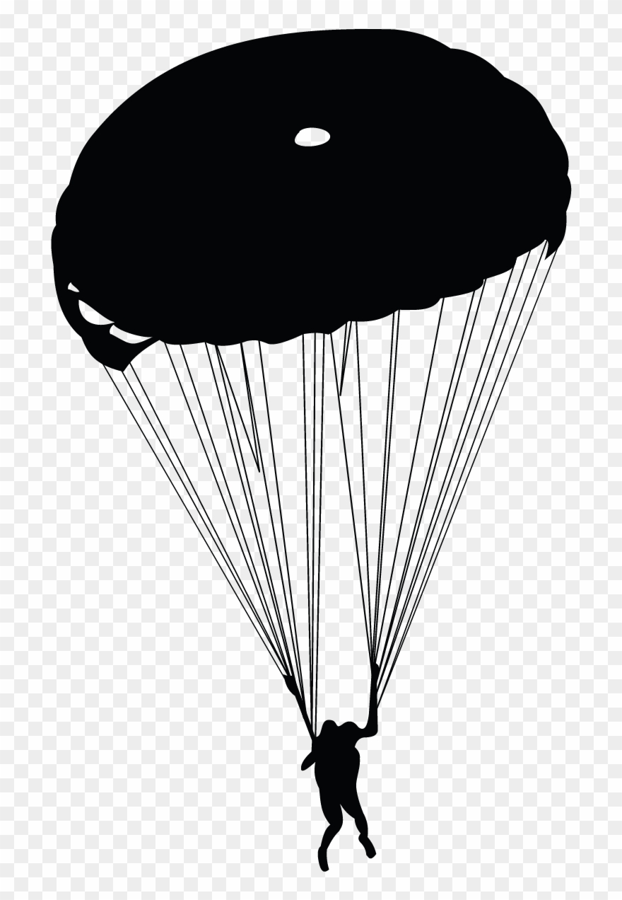 svg free Banner parachuting silhouette . Army parachute clipart