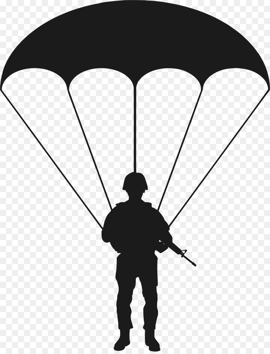 graphic transparent stock Soldier silhouette . Army parachute clipart