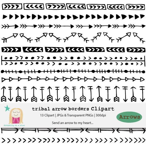clip freeuse download Boho tribal arrows . Arrow border clipart.