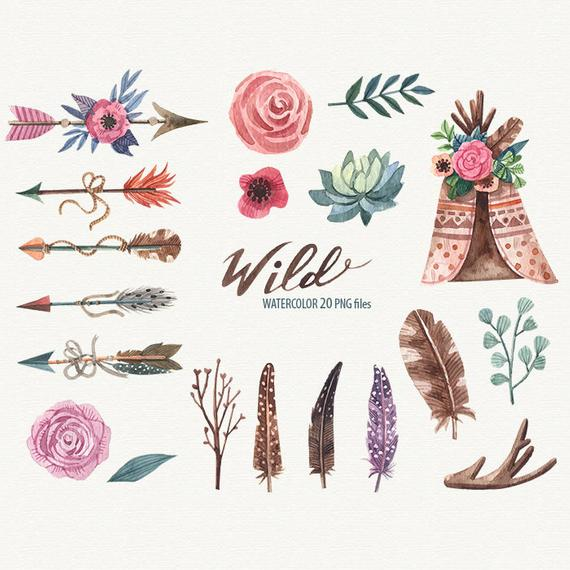 clip art transparent stock Arrow feather clipart. Wild ethnic watercolor tribal