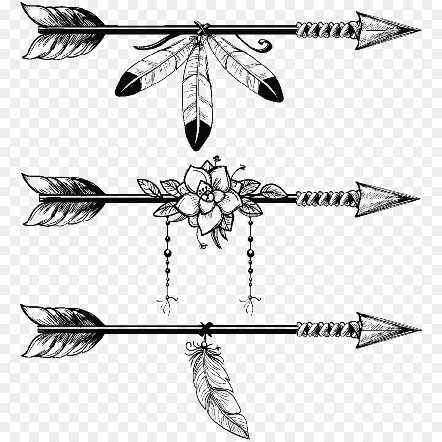 png freeuse library Line art feather illustration. Arrow with feathers clipart