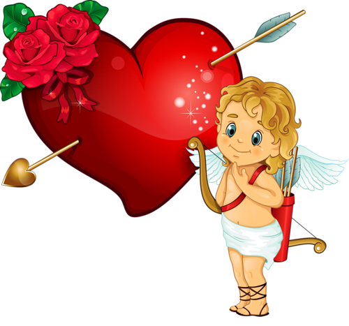 svg freeuse library Arrow with heart clipart. Cupidon and rose by