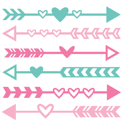 royalty free Valentine Arrow Set SVG scrapbook cut file cute clipart files for