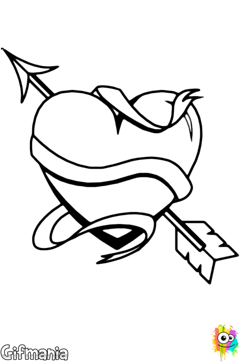 vector royalty free download Heart arrow and scroll. Valentine drawing unique