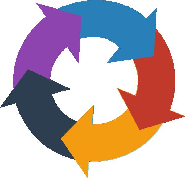 vector download Rainbow circular clip art. Arrows in a circle clipart.