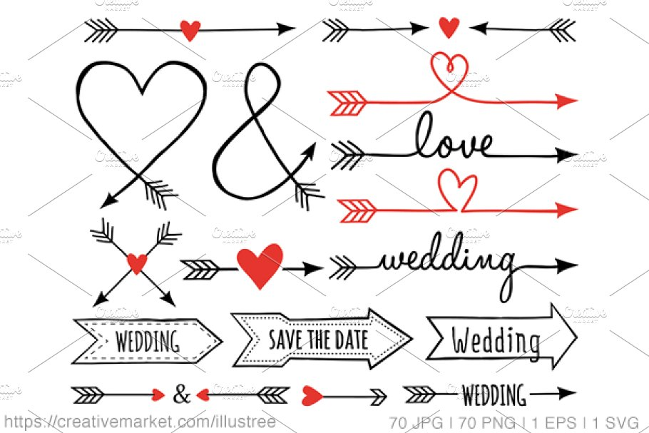 png transparent download Arrows with hearts clipart.  wedding clip art.
