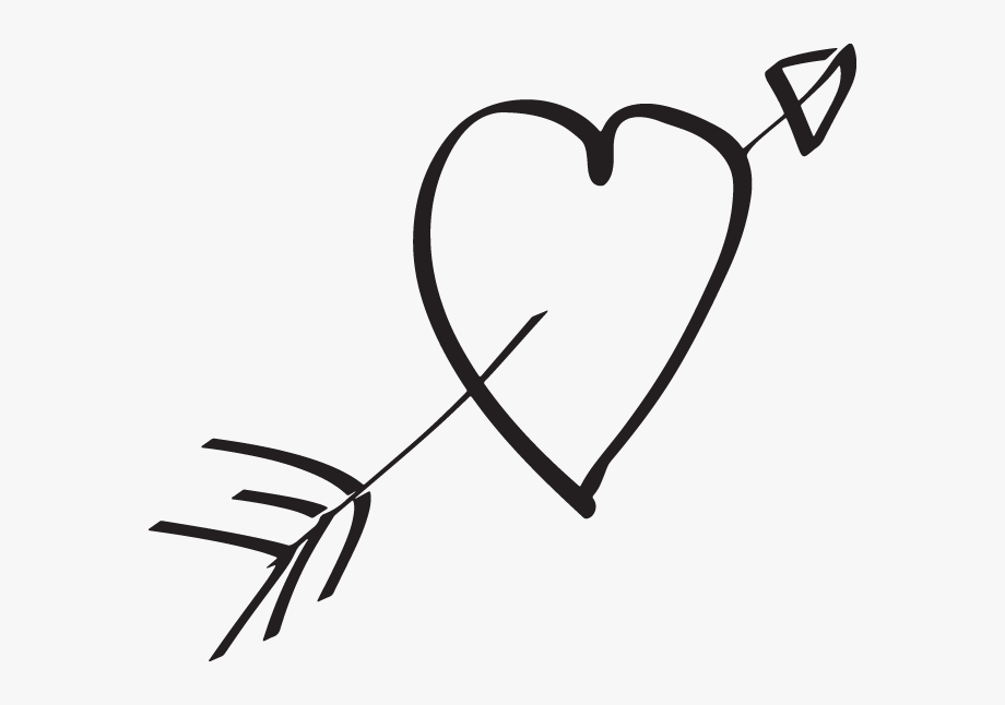 png stock Heart arrow hand drawn. Arrows with hearts clipart.