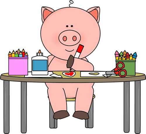 clip freeuse stock Art class clipart. Pig coloring in clip.
