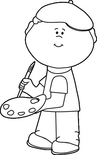 clip art transparent Boy artist clip image. Art clipart black and white.