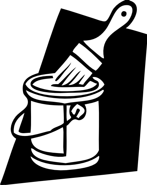 clipart black and white library House painter panda free. Brush clipart pent