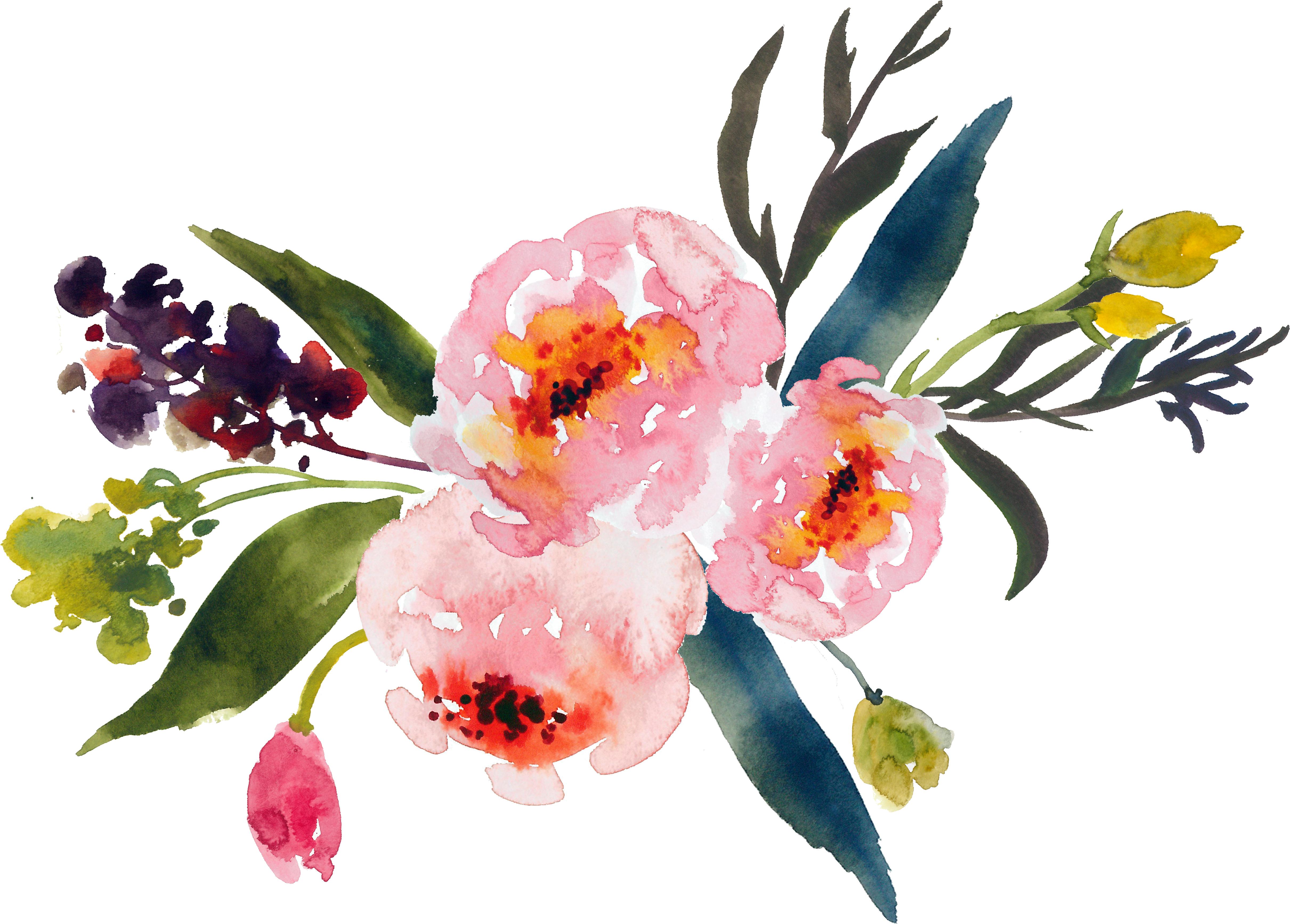 picture black and white Art clipart watercolor paint. Flower bouquet painting clip.