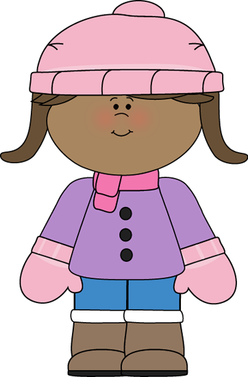 black and white library Little girl dressed for. Year clipart winter