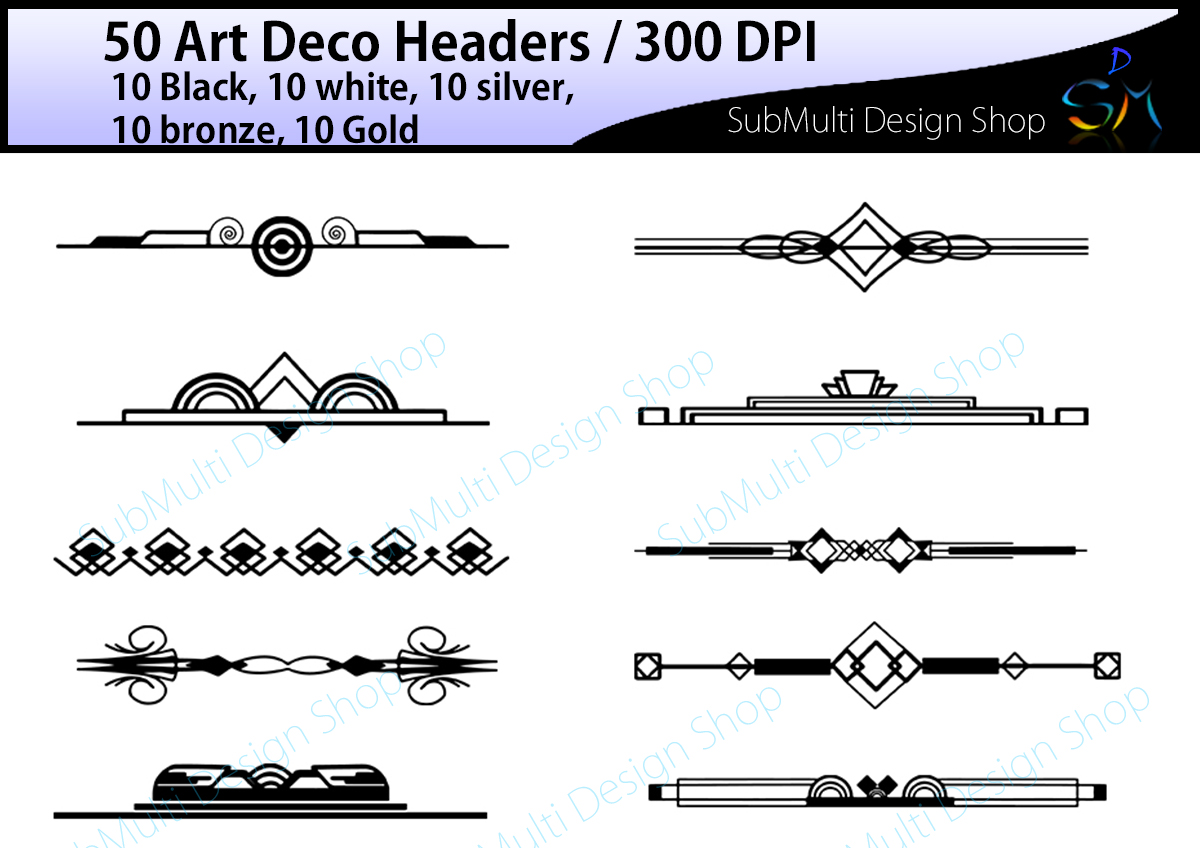 graphic black and white library Art deco clipart. Headers header digital frames.