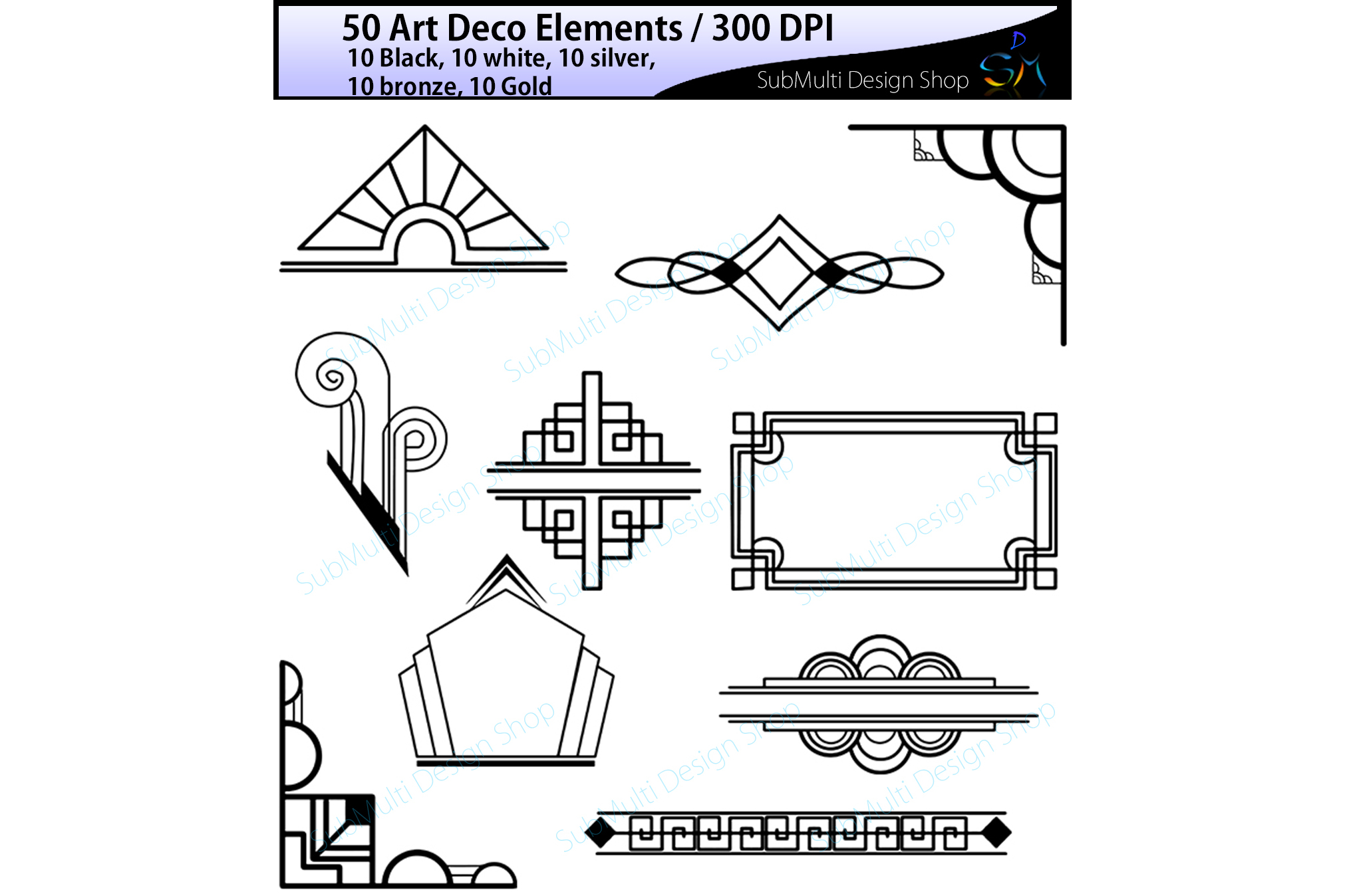 vector transparent stock Elements element in gold. Art deco clipart.