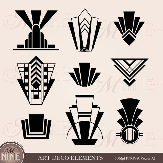 graphic royalty free stock Clip elements downloads vector. Art deco clipart.
