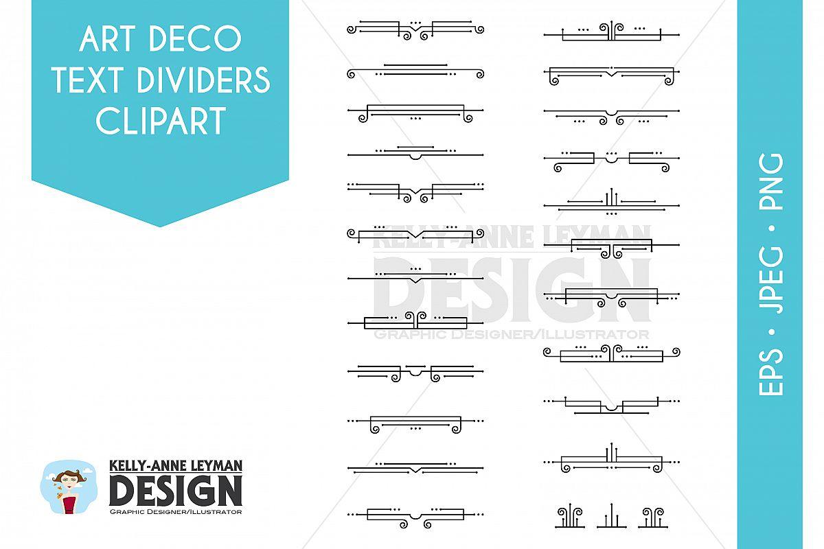 free Text dividers digital border. Art deco divider clipart
