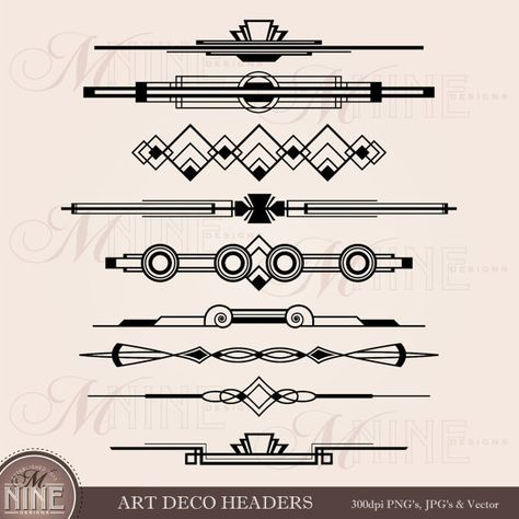 jpg black and white Art deco divider clipart. Header clip accent