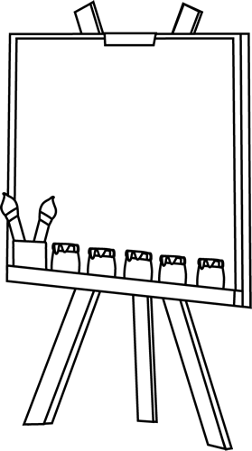 banner transparent library Black and White Easel Clip Art