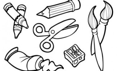 clipart free library Station . Art supplies clipart black and white