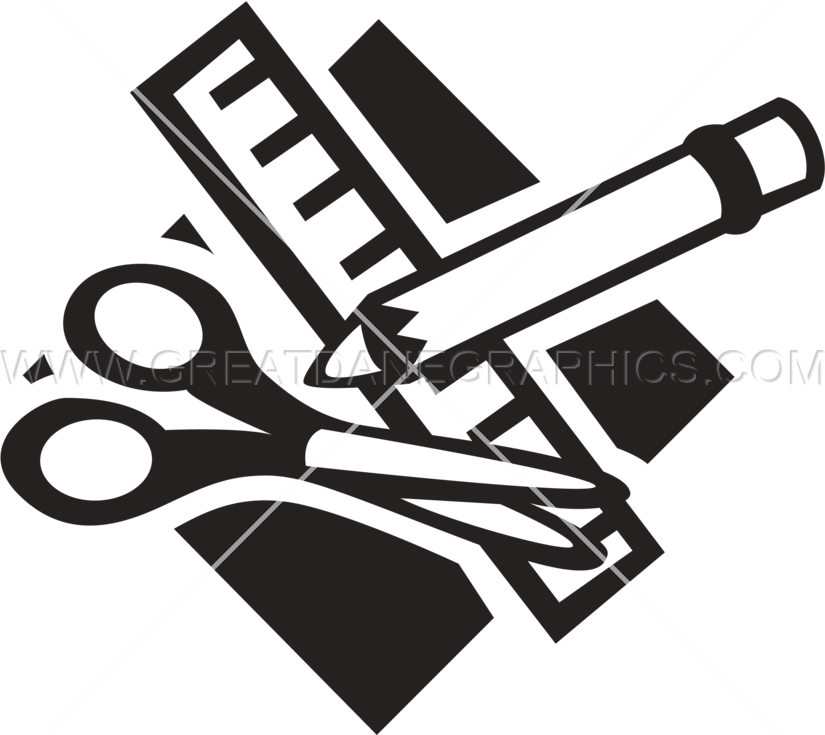 banner transparent download School production ready artwork. Art supplies clipart black and white