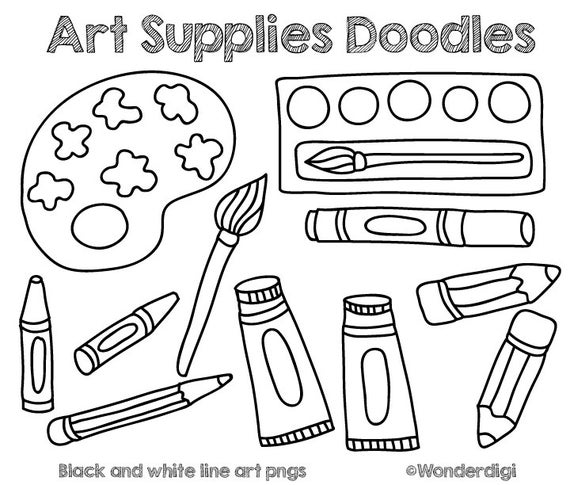 free Clip doodles kids school. Art supplies clipart black and white