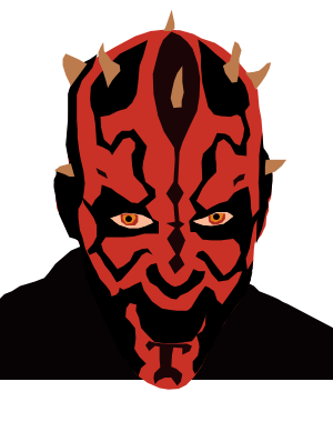 black and white Darth Maul by Kinetic