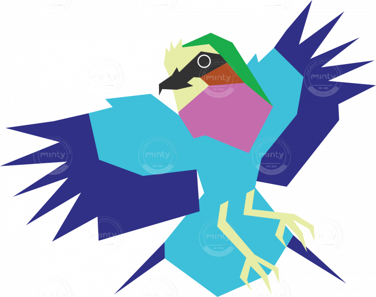 clipart black and white stock Lilac breasted roller bird. Vector artist workspace