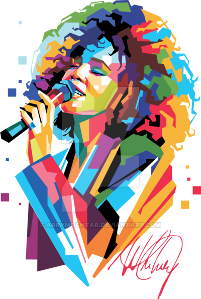 image transparent library Whitney Houston in Popart Portrait WPAP Design by ArryMochtar on