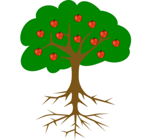 graphic black and white library Apple Tree With Roots Clip Art