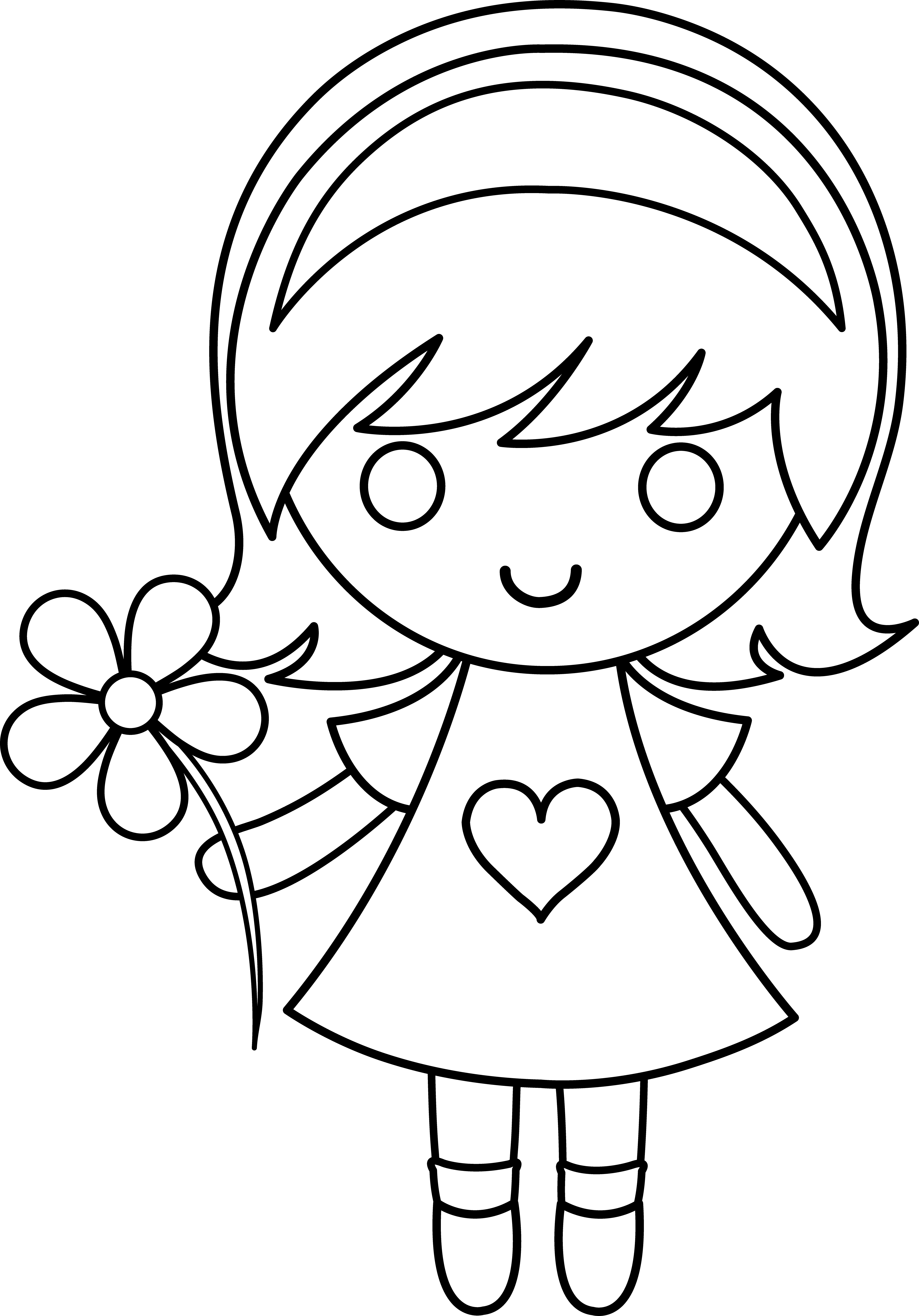 royalty free stock Girl With Flower Drawing at GetDrawings