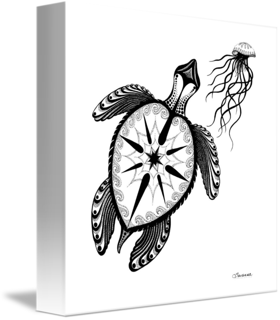 jpg free stock Spiritual drawing pen. Sea turtle compass and